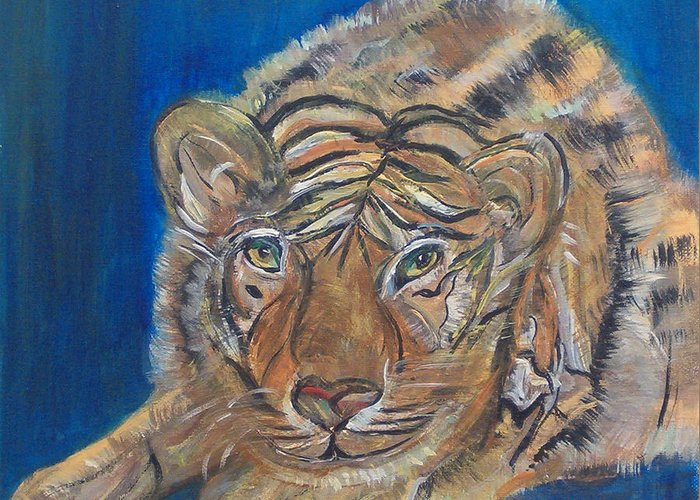 Tiger Greeting Card featuring the painting Contented Tiger by Mikki Alhart