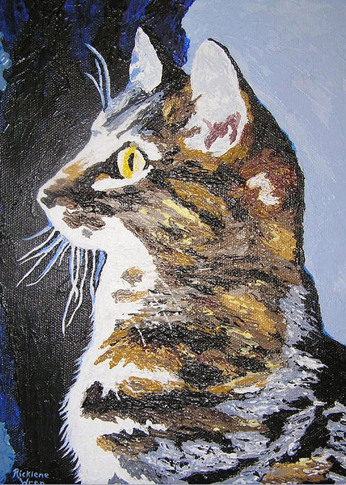 Cats Greeting Card featuring the painting Contmeplating Cat by Ricklene Wren
