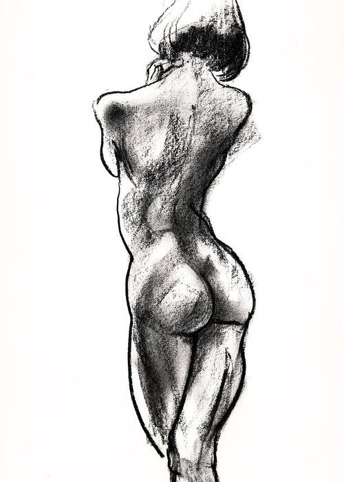 Female Nudes Greeting Card featuring the drawing Contra Posta Female Nude by Roz McQuillan