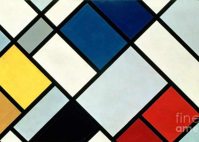 Contra-composition Greeting Card featuring the painting Contracomposition Of Dissonances by Theo van Doesburg