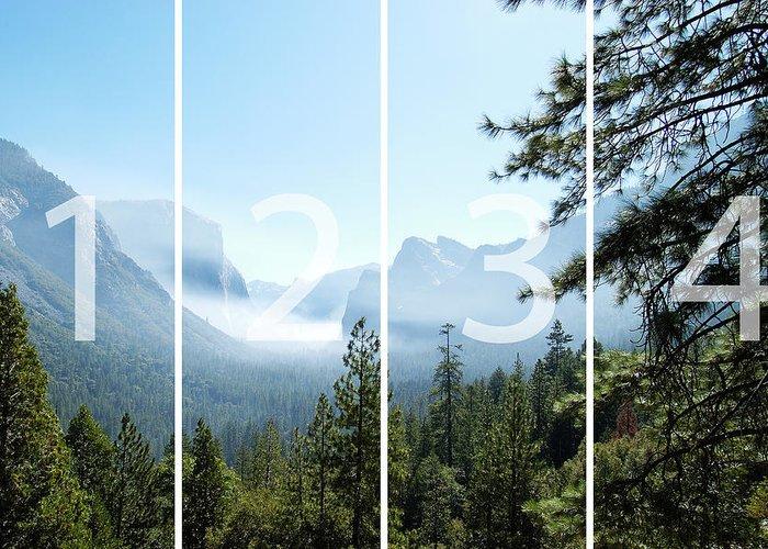 El Capitan Greeting Card featuring the digital art Controlled Burn of Yosemite panoramic map by Michael Bessler