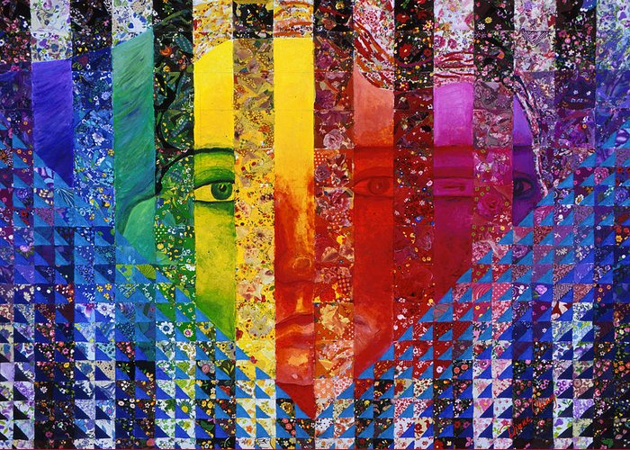 Colorful Greeting Card featuring the mixed media Conundrum I - Rainbow Woman by Diane Clancy