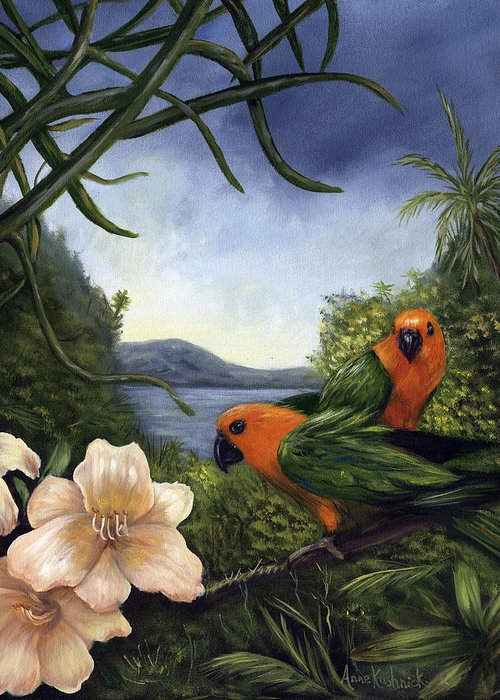 Landscape Greeting Card featuring the painting Conures by Anne Kushnick