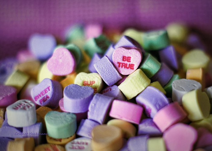 Candy Greeting Card featuring the photograph Conversation Hearts by Cricket Hackmann