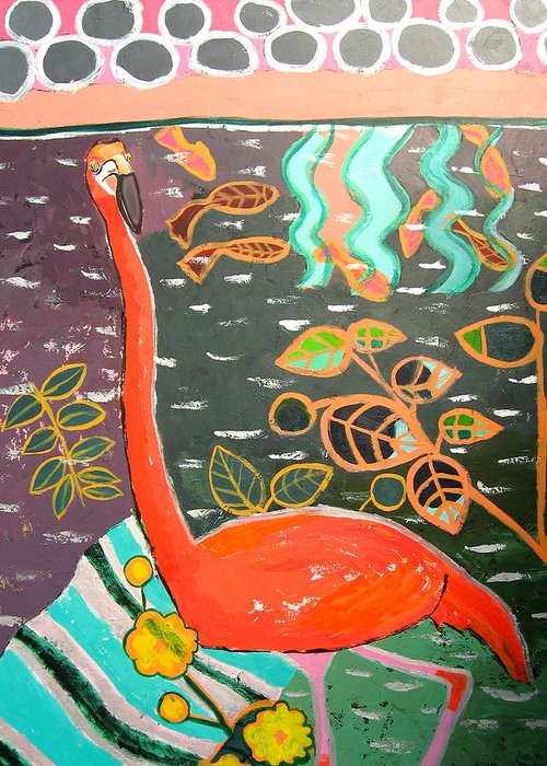 Flamingo Greeting Card featuring the painting Conversation With Flamingo by Aliza Souleyeva-Alexander