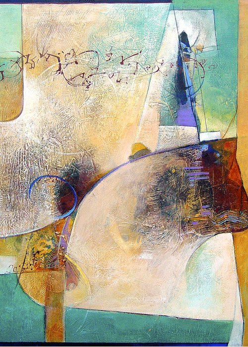 Abstract Greeting Card featuring the painting Conversing With The Cat by Dale Witherow
