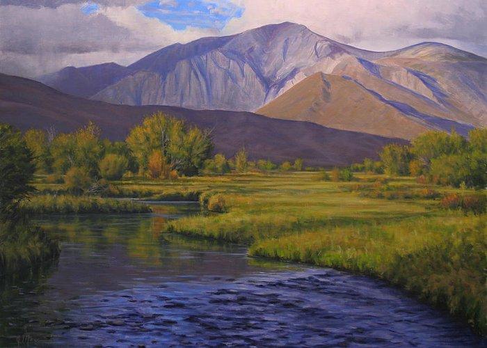 High Sierras Greeting Card featuring the painting Convict Creek-eastern Sierras by Joe Mancuso