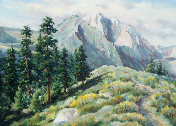 Landscape Greeting Card featuring the painting Convict Lake Guardians by Don Trout