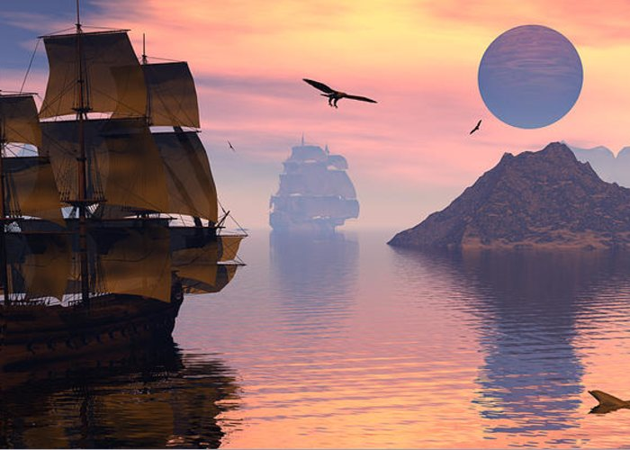 Bryce 3d Scifi Fantasy  Dolphin tall Ship Windjammer \sailing Ship\ Sailing Greeting Card featuring the digital art Convoy by Claude McCoy