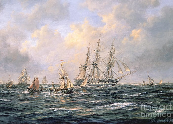 Seascape; Sea; Water; Fishing Boats; Boat; Boats; East Indiamen; Convoy; Cloud; Clouds; Cloudy; Sail; Sailing Greeting Card featuring the painting Convoy Of East Indiamen Amid Fishing Boats by Richard Willis