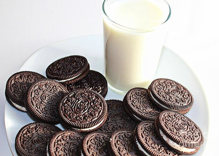Chocolate Cream Oreos And Milk Greeting Cards