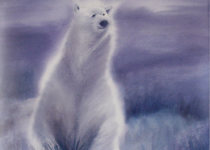 Bear Greeting Card featuring the painting Cool Bear by Allison Ashton