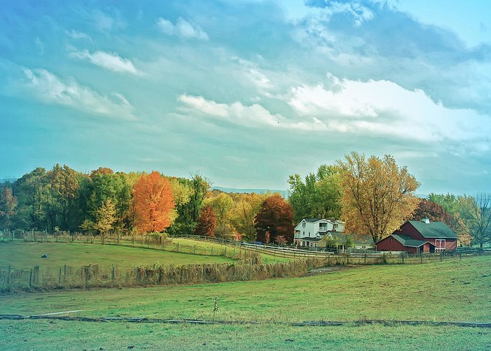 Country Greeting Card featuring the photograph Cool Blue Autumn Farm by Aimee L Maher ALM GALLERY