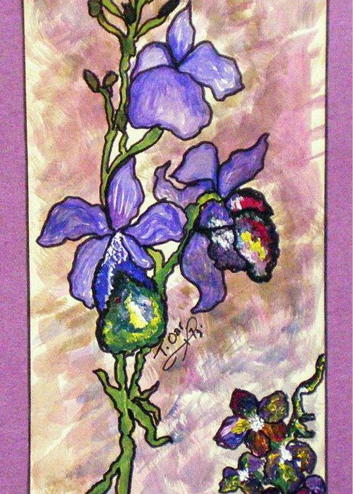 Flower Flowers Cool Greeting Card featuring the painting Cool Flower Study by Tammera Malicki-Wong