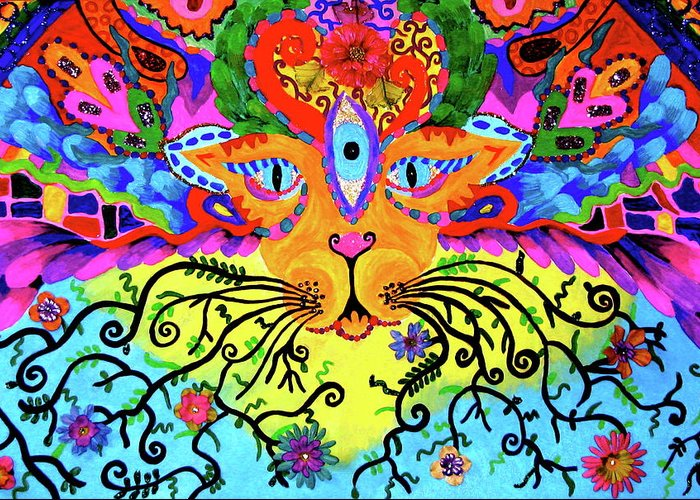 Trippy Greeting Card featuring the painting Cool Kitty Cat by Marina Hackett
