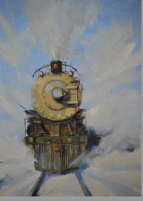 Steam Locomotive Greeting Card featuring the painting Cool Running by Greg Clibon