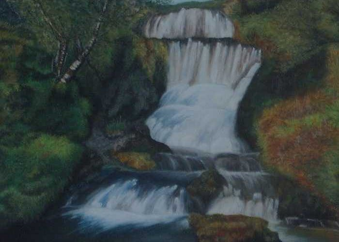 Waterfall Greeting Card featuring the painting Cool Waters by Nellie Visser