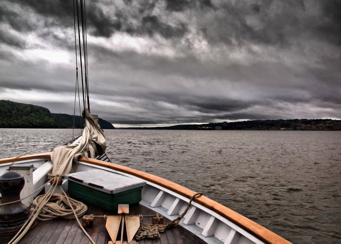 Boat Greeting Card featuring the photograph Cool Winds On The Hudson by Valerie Morrison