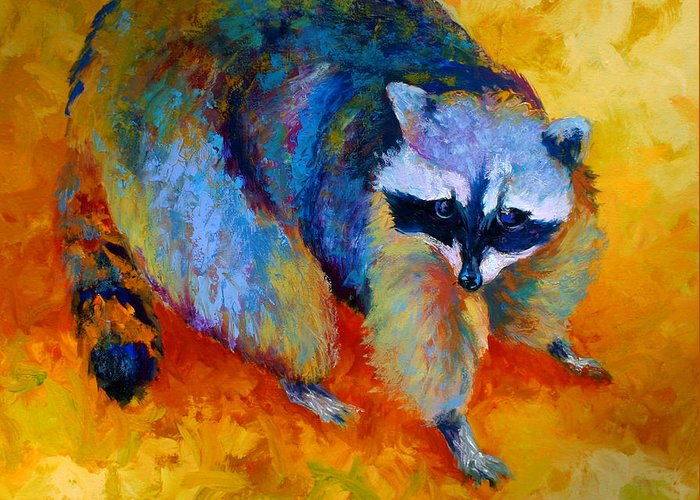 Racoon Greeting Card featuring the painting Coon by Marion Rose