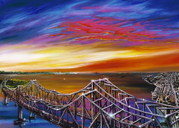 Clouds Greeting Card featuring the painting Cooper River Bridge by James Christopher Hill