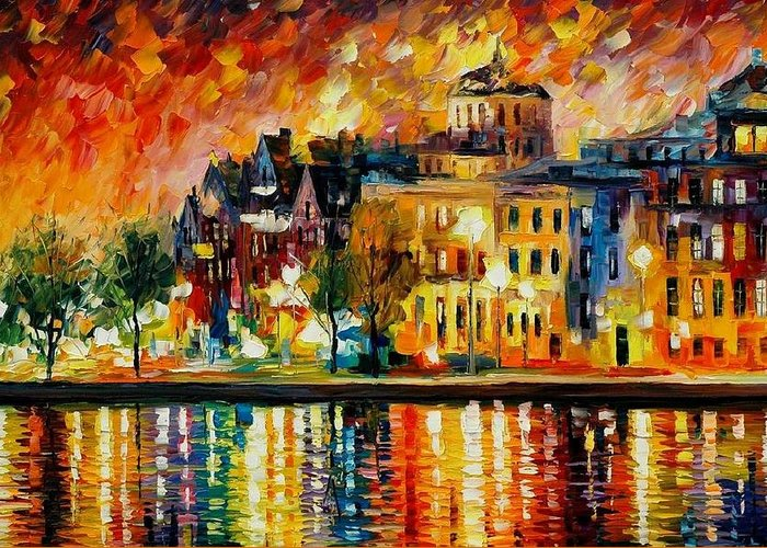 City Greeting Card featuring the painting Copenhagen Original Oil Painting by Leonid Afremov