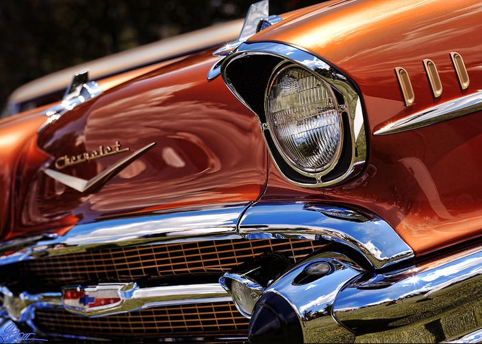 Copper Greeting Card featuring the photograph Copper 1957 Chevy Bel Air by Gordon Dean II