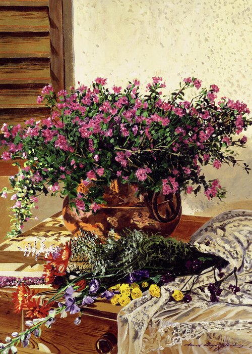 Still Life Greeting Card featuring the painting Copper And Lace by David Lloyd Glover