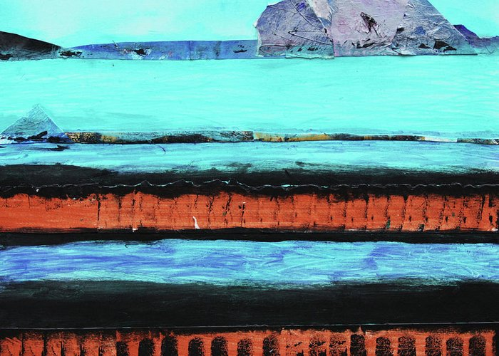 Abstract Greeting Card featuring the painting Copper Cliffs Beachside by Karla Britfeld