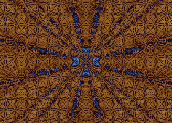 Fractal Greeting Card featuring the digital art Copper Lace by Devalyn Marshall