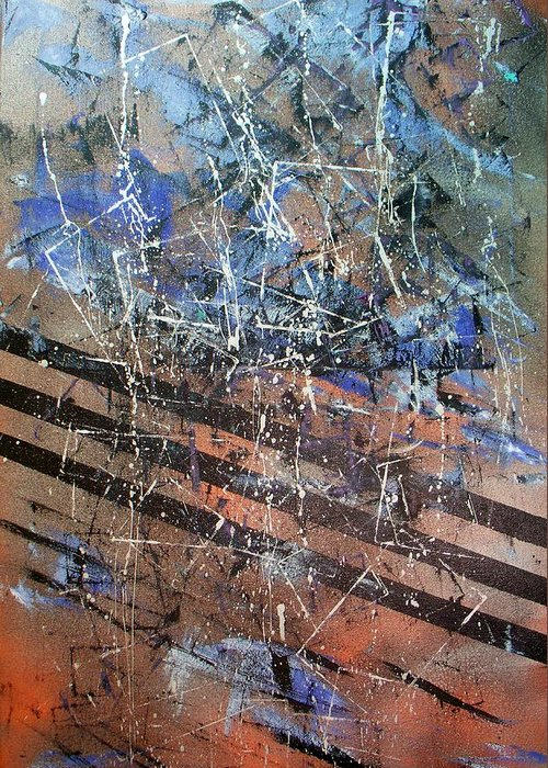 Abstract  Greeting Card featuring the painting Copper To Blue Abstract by Lynda McDonald