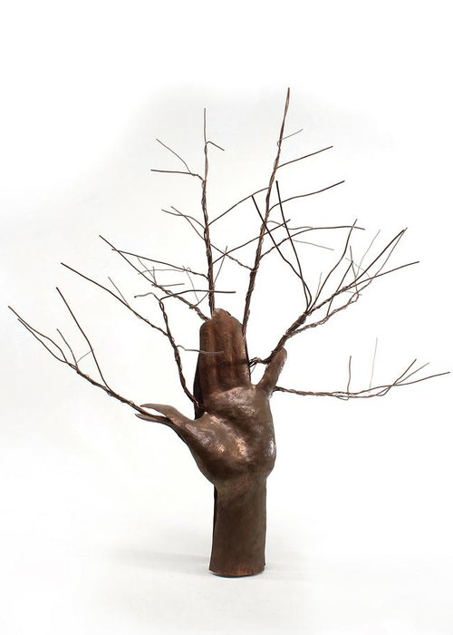 Sculpture Greeting Card featuring the sculpture Copper Tree Hand A Sculpture By Adam Long by Adam Long