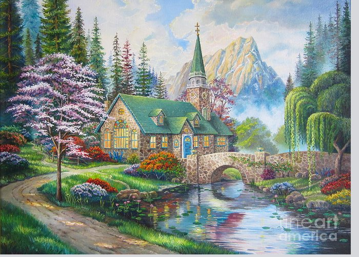 Dogwood Chapel Greeting Card featuring the painting copy of Dogwood Chapel by Elena Yalcin