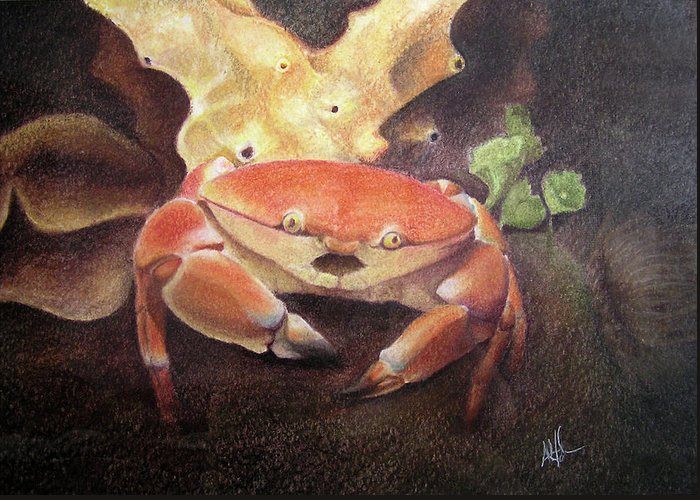 Animals Greeting Card featuring the painting Coral Crab by Adam Johnson