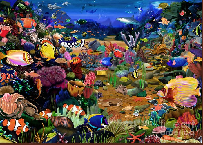 Gerald Newton Greeting Card featuring the digital art Coral Reef by MGL Meiklejohn Graphics Licensing