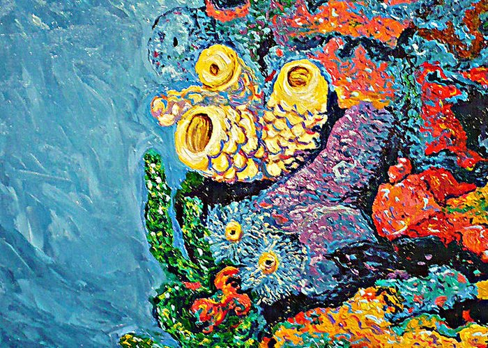 Coral Greeting Card featuring the painting Coral With Cucumber by Ericka Herazo