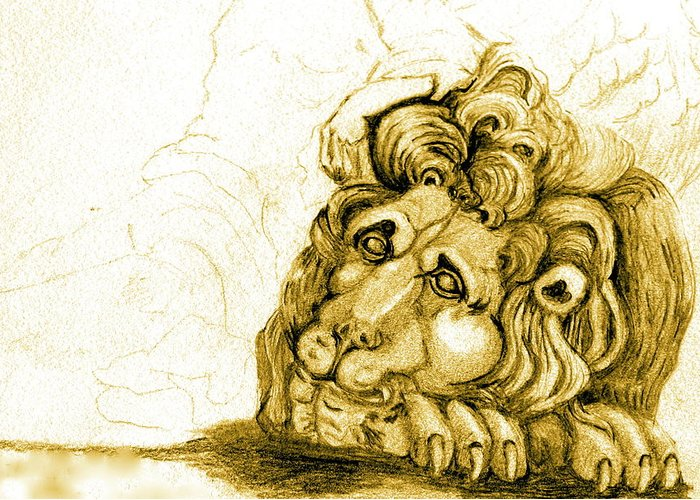 Lion Greeting Card featuring the drawing Cordoba Lion by Dan Earle