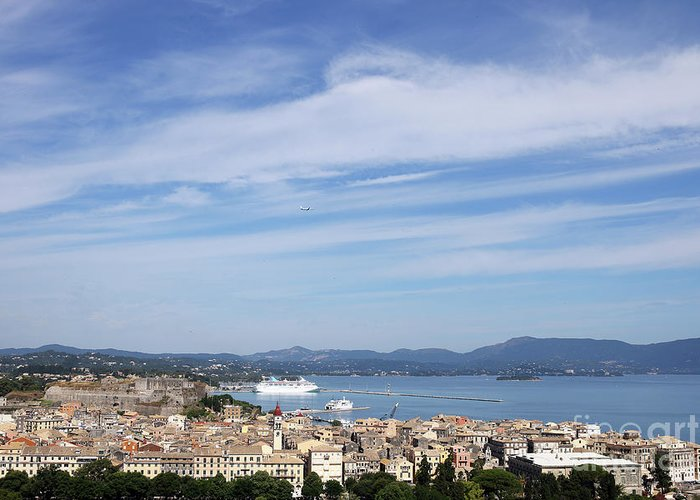 Corfu Greeting Card featuring the photograph Corfu Town And Port With Cruiser Cityscape by Goce Risteski
