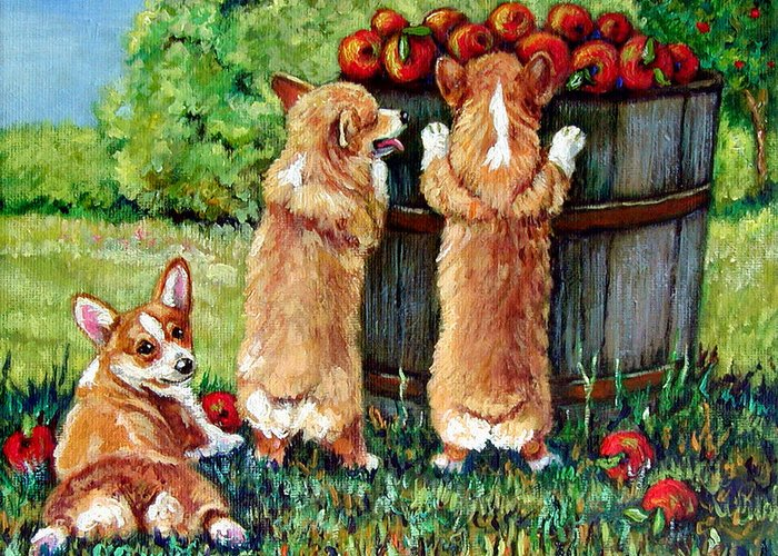 Pembroke Welsh Corgi Greeting Card featuring the painting Corgi Apple Harvest Pembroke Welsh Corgi Puppies by Lyn Cook