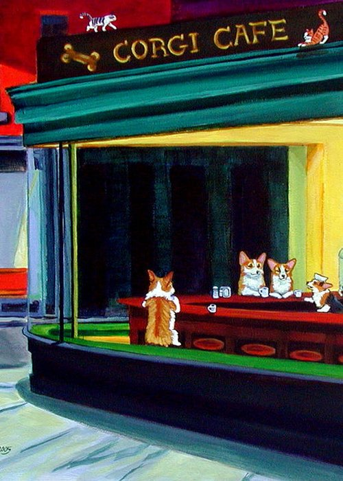 Pembroke Welsh Corgi Greeting Card featuring the painting Corgi Cafe After Hopper by Lyn Cook
