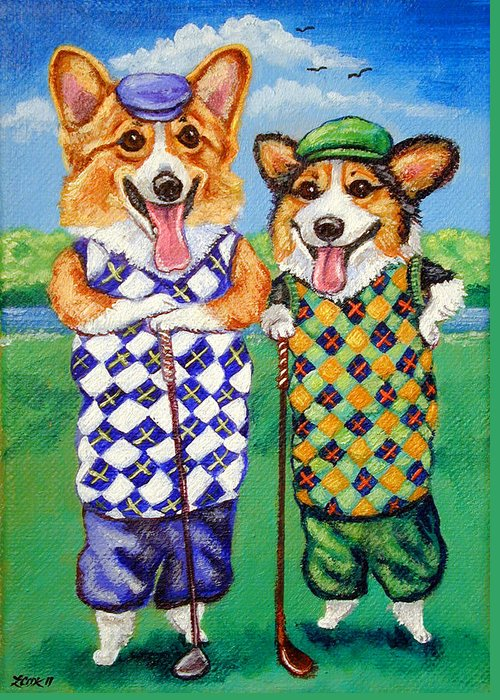 Pembroke Welsh Corgi Greeting Card featuring the painting Corgi Golfers Pembroke Welsh Corgi by Lyn Cook