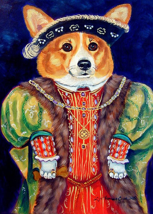 Pembroke Welsh Corgi Greeting Card featuring the painting Corgi King by Lyn Cook