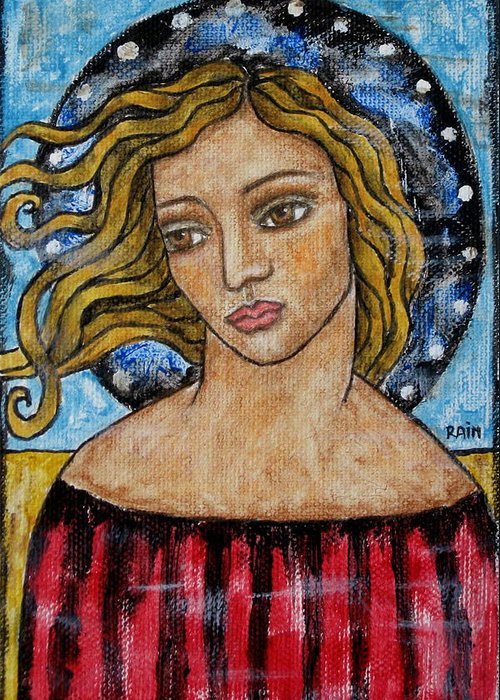 Paintings Greeting Card featuring the painting Corine by Rain Ririn