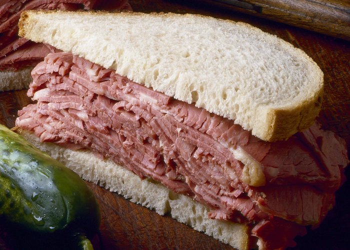 Sandwich Greeting Card featuring the photograph Corn Beef Sandwich by Federico Arce
