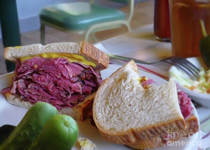 Corned Beef Greeting Card featuring the photograph Corned Beef On Rye by Jeff Breiman