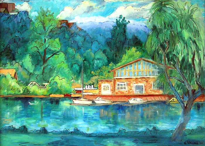 Cauga Lake Greeting Card featuring the painting Cornell Boathouse by Ethel Vrana