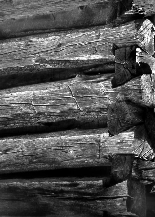 Ansel Adams Greeting Card featuring the photograph Corner-logs by Curtis J Neeley Jr
