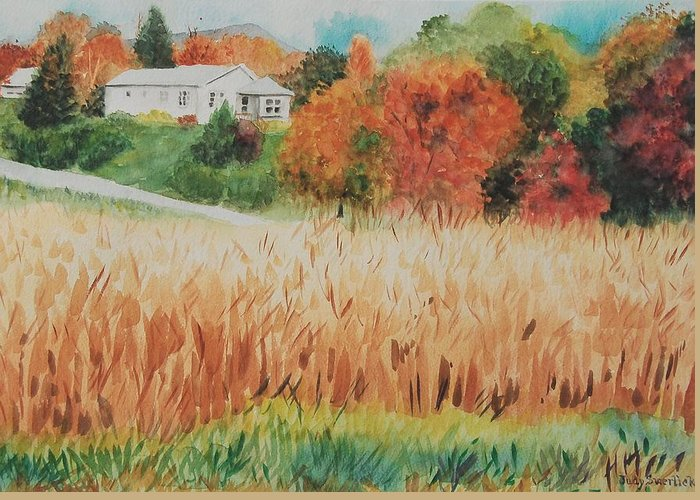Autumn Greeting Card featuring the painting Cornfield in Autumn by Judy Swerlick