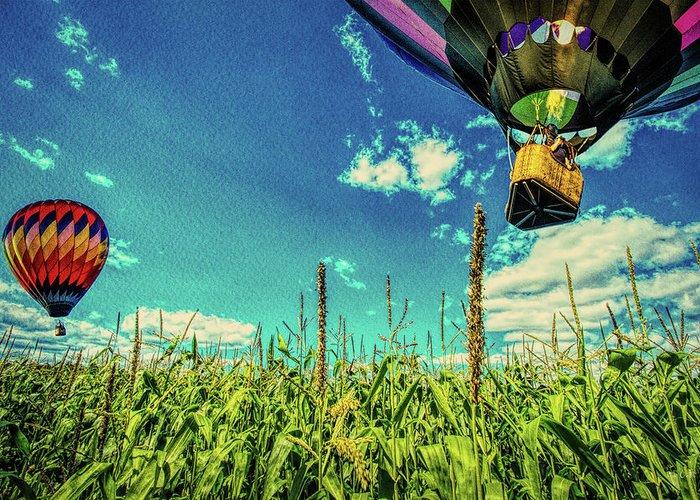Farmland Greeting Card featuring the photograph Cornfield View Hot Air Balloons by Bob Orsillo