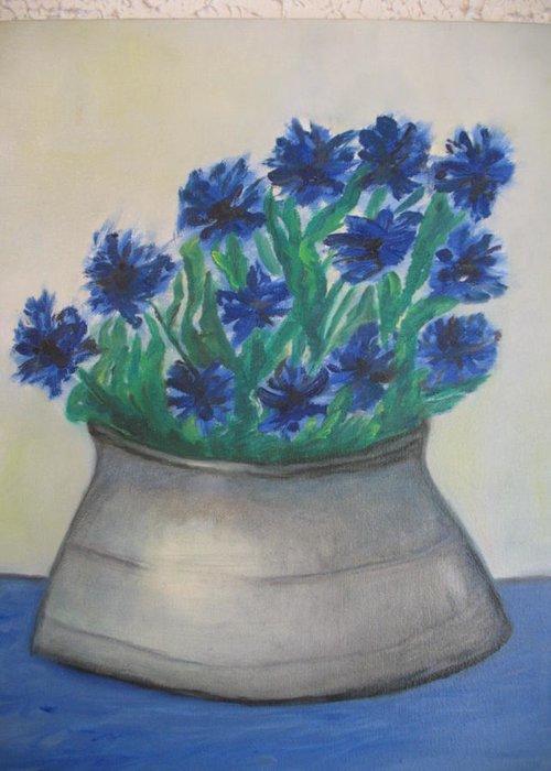 Maria Kolucheva Greeting Card featuring the painting Cornflower by Maria Kolucheva