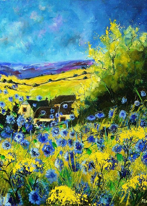 Flowers Greeting Card featuring the painting Cornflowers In Ver by Pol Ledent